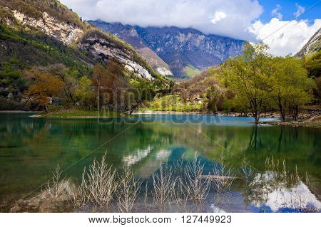 Turquoise Lake In The Mountains.