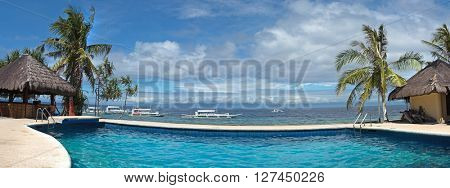 Panoramic view of public water pool at Balicasag island of Philippines