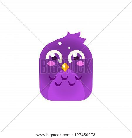 Purple Giggling Chick Square Icon Colorful Bright Childish Cartoon Style Icon Flat Vector Design Isolated On White Background