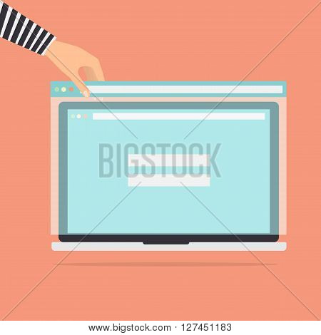 Hacker with fake phishing website for stealing usernames passwords and credit card detail on victim laptop computer. Vector illustration flat design technology data privacy and security concept.