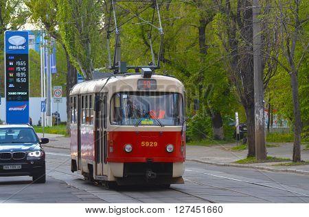 Old tram Tatra T3 on the street of Podol district in the historical center of Kiev. At April 19,2016 in Kiev, Ukraine