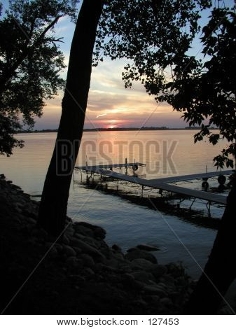 Beautiful Summer Sunset On Lake