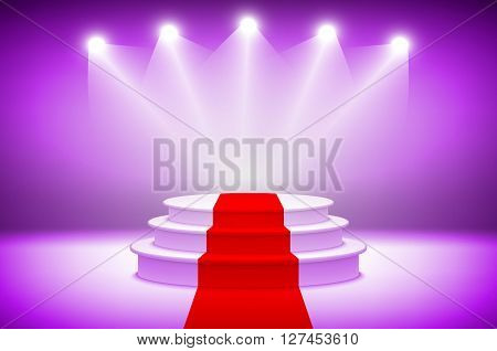 3D Purple Illuminated Stage Podium With Red Carpet For Award Ceremony Vector Illustration Stage Ligh