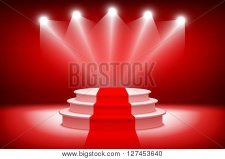 3D Theatrical Background.scene And Red Curtains. Red Podium On A Background Of Red Drape Curtains. V