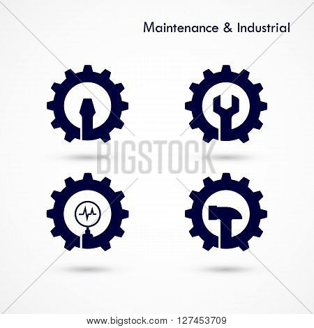Maintenance and repair logo elements design.Maintenance service and engineering creative symbol.Business and industrial concept.Vector illustration
