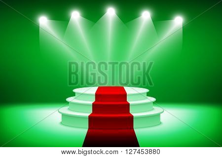 3D Illuminated Stage Podium For Award Ceremony Vector Illustration