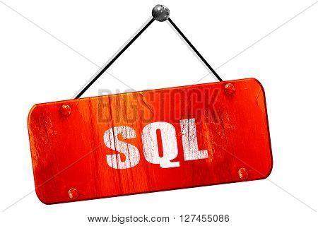 sql, 3D rendering, red grunge vintage sign