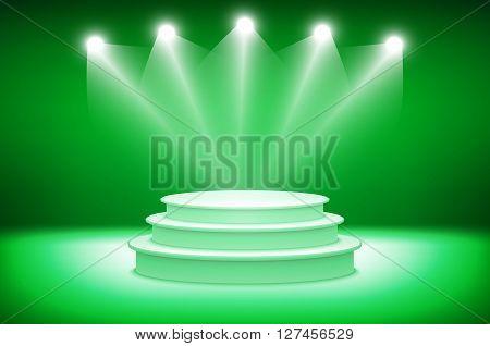 3D Green Podium. Pedestal. Scene. 3D. Illustration.