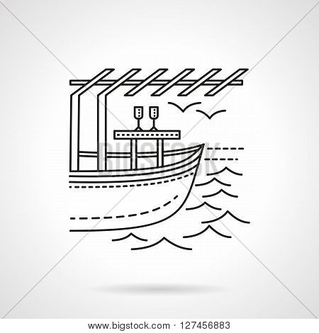 Leisure on yacht for lovers. Honeymoon. Tropical resort. Exotic romantic date. Flat line style vector icon. Single design element for website, business.