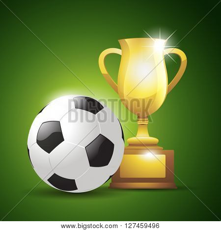 Gold cup with a soccer ball. Vector illustration background