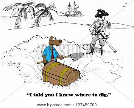 Business cartoon about digging for money and finding it.