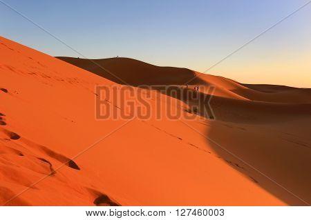 Dunes of Erg Chebbi in the Sahara Desert at sunset Morocco