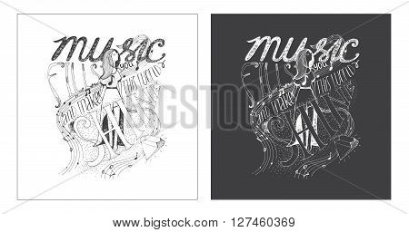 Hand drawn motivating lettering art work dedicated to music and its meaning in our life. Music fills you and makes this world shine. Isolated on background vector illustration with happy girl notes