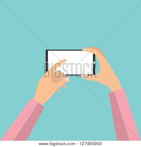 Hand holding smartphone touch screen for taking a photo. Vector illustration phone photography technology concept.
