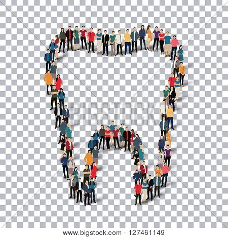 Isometric set of styles, tooth  , web infographics concept  illustration of a crowded square, flat 3d. Crowd point group forming a predetermined shape. Creative people. - Vector Illustration. Stock vector.3D illustration.Transparency grid .