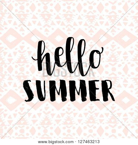 Hello summer pink hipster boho chic background with aztec tribal mexican texture. Minimal printable journaling card, creative card, art print, minimal label design for banner, poster, flyer.