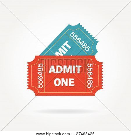 Admit one ticket isolated on white background. Two vintage cinema tickets. Colorful vector illustration.