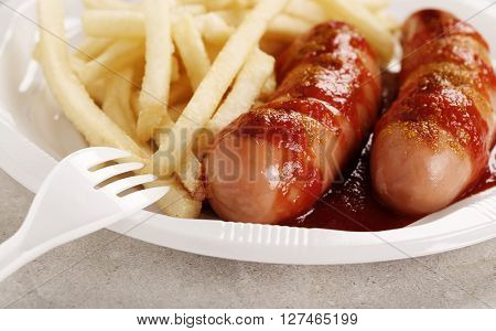 Curry wurst with french fries