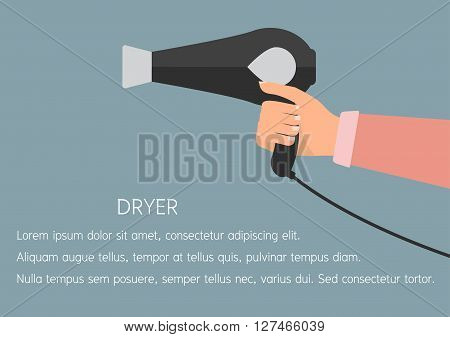 Woman hand holding a hair dryer. Vector illustration flat design beauty and make up concept.