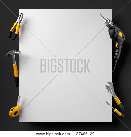 drill, pliers, hammer, wrench and construction tools on a black and white background