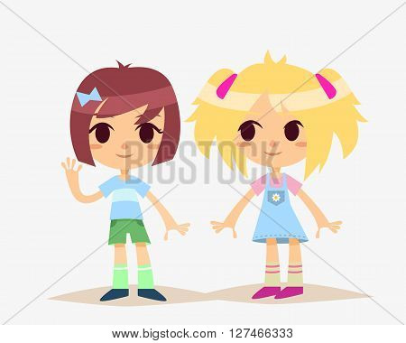 Cute Cartoon Kids Isolated. Girls. Vector Illustration.
