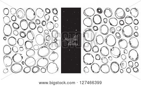 Set of 100 circles made with hand and ink freehand with lots of splashes and blob brush smears. Vector black and white illustration good for creative designs drawn with imperfections.