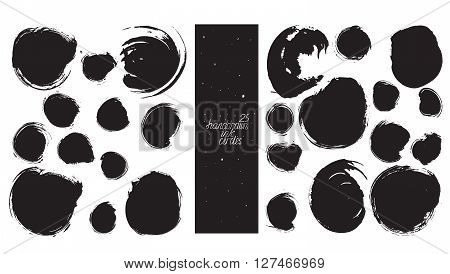 Set of 25 circles made with hand and ink freehand with lots of splashes and blob brush smears. Vector black and white isolated illustration for creative designs drawn with imperfections.