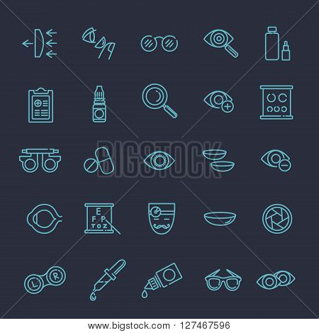 optometry vision correction eyes health line icons set