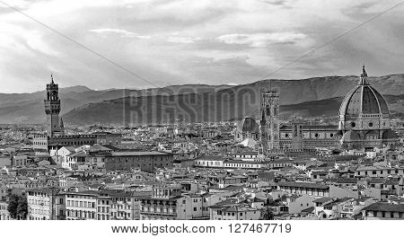 View Of The City Of Florence In Italy With The Cathedral