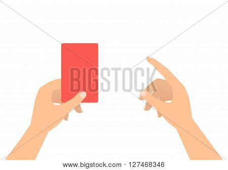 Football soccer referee hands with red card and finger pointing on white background.