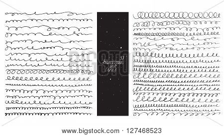 Set of 37 curvy lines made with hand and ink freehand ornated with loops flourishes nib blobs. Vector black and white illustration good for creative designs drawn with imperfections.