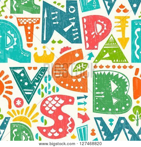 Vector seamless pattern with cute colourful alphabet letters