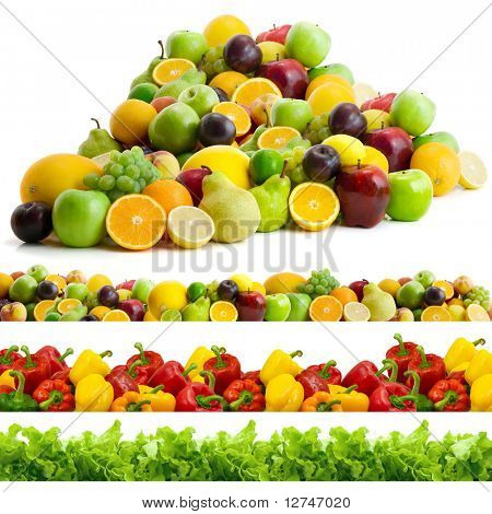 collection of vegetables and fruits isolated on the white background