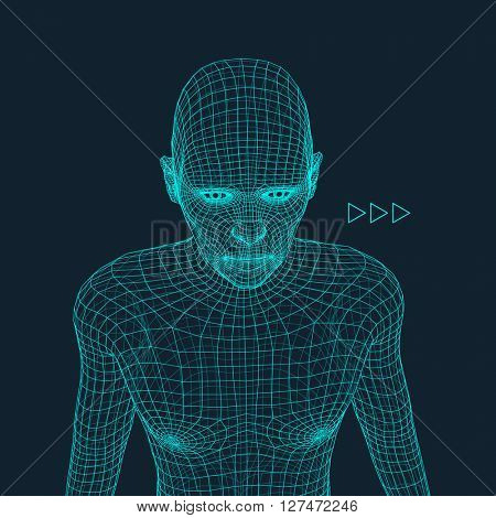 Head of the Person from a 3d Grid. Face Scanning. 3D Geometric Face Design. 3d Polygonal Covering Skin. Geometry Polygon Man Portrait.