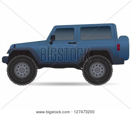 Off road vehicle, car for bad roads, vector illustration isolated on white