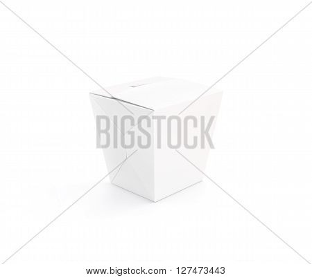 Closed white blank wok box mockup stand isolated, 3d rendering. Empty clear noodle carton box mock up. Asian take away food paper bag template. Chinese meal container  packaging. Rice, udon, pasta