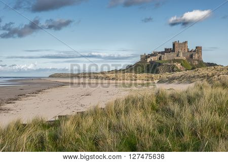 Bamburgh Castle on the Northumberland coast in England