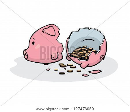 Vector illustration of a smashed pink ceramic piggy bank with coins inside. Freehand drawing converted to vector graphics. Isolated on white.
