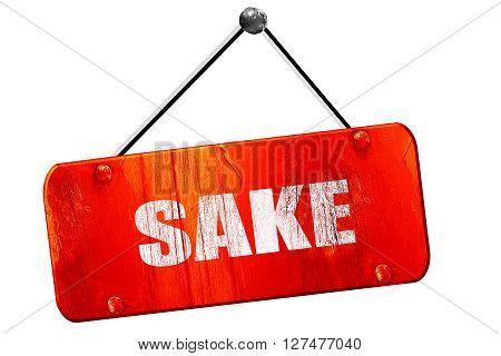 sake, 3D rendering, red grunge vintage sign
