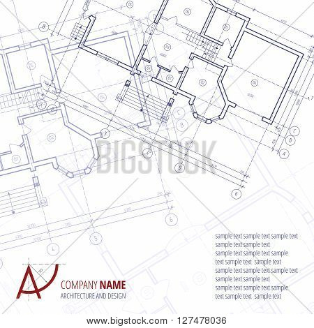 Architectural background. Blue building plan silhouette and A-letter logo architecture and design company.