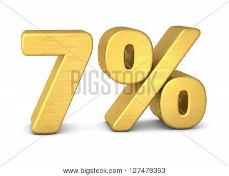 7 percent symbol 3d rendering gold metallic