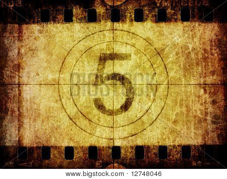 Grunge Film Negative Background Texture And Countdown Leader