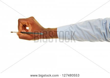 Hand of black busines man holding a brush