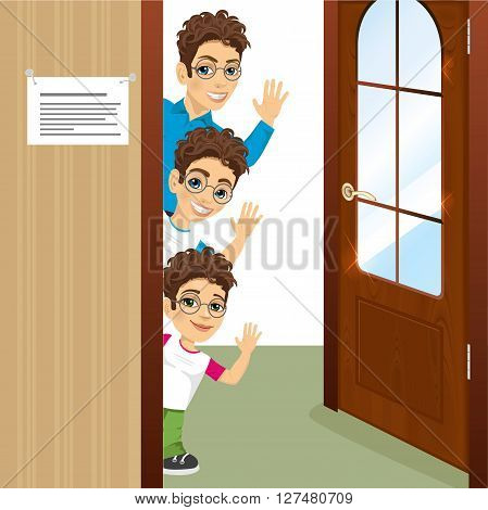 portrait of three brothers with glasses peeking of the door waving