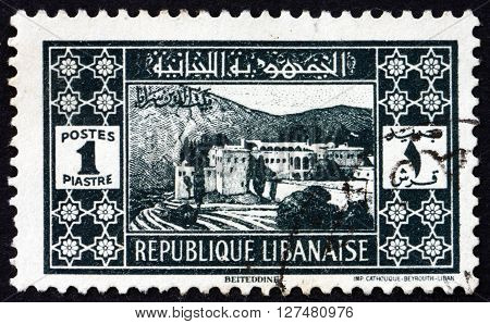 LEBANON - CIRCA 1939: a stamp printed in Lebanon shows Beit-ed-Din Palace circa 1939