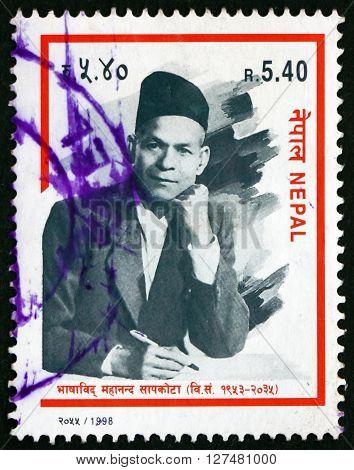 NEPAL - CIRCA 1998: a stamp printed in the Nepal shows Mahananda Sapkota Linguist circa 1998