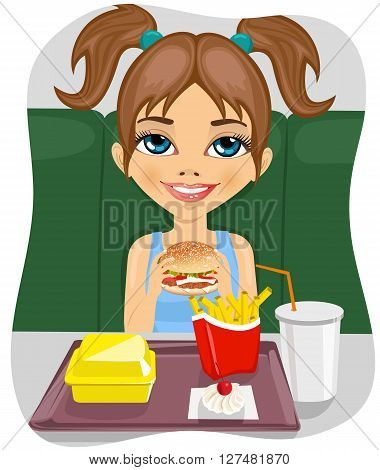 young cute girl eating burger with french fries and coke in fast food restaurant