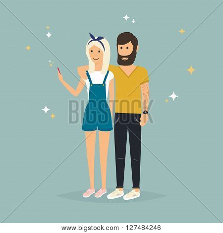 Young Couple Taking A Selfie With Mobile Phone. Cartoon Man And Woman. Concept Of Friendship And Fun