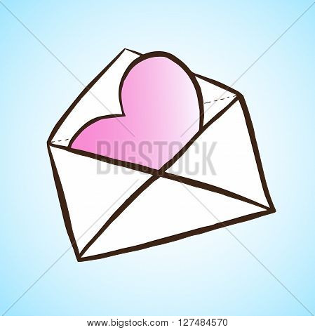 Opened letter with heart. Hand drawn vector illustration. Concept of sms, spam, writing, postcard, salutation, chatting, mailbox, textual talking, checking email