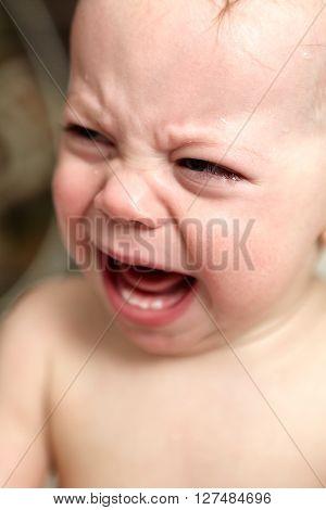 Crying Baby Boy In Bathroom